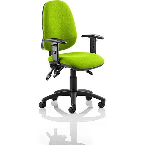 Eclipse III Lever Task Operator Office Chair With Height Adjustable Arms In Swizzle Green