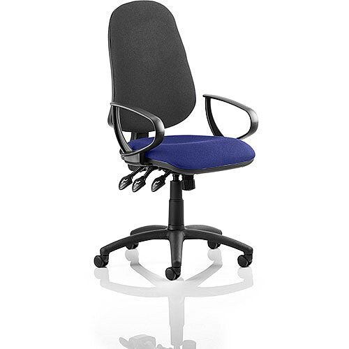 Eclipse XL III Lever Task Operator Office Chair With Loop Arms Black Back Serene Blue Seat