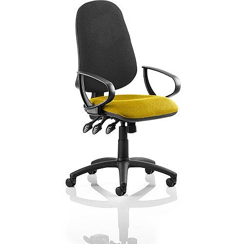 Eclipse XL III Lever Task Operator Office Chair With Loop Arms Black Back Sunset Yellow Seat