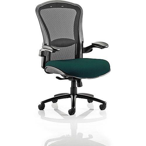 Houston Heavy Duty Task Operator Office Chair Black Mesh Back Kingfisher Green Seat