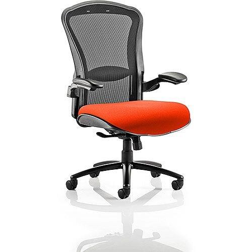 Houston Heavy Duty Task Operator Office Chair Black Mesh Back Pimento Rustic Orange Seat