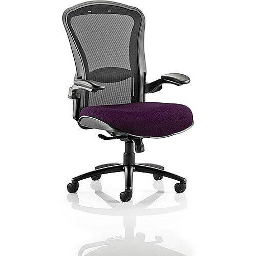 Houston Heavy Duty Task Operator Office Chair Black Mesh Back Purple Seat