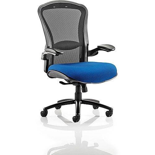 Houston Heavy Duty Task Operator Office Chair Black Mesh Back Serene Blue Seat