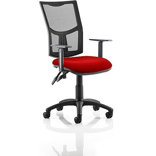 Eclipse II Lever Task Operator Office Chair With Height Adjustable Arms Mesh Back &Cherry Red Seat