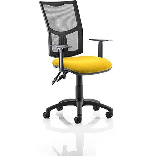 Eclipse II Lever Task Operator Office Chair With Height Adjustable Arms Mesh Back &Sunset Yellow Seat