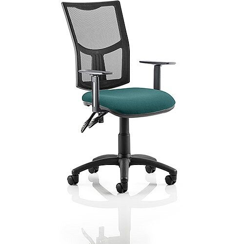 Eclipse II Lever Task Operator Office Chair With Height Adjustable Arms Mesh Back &Kingfisher Green Seat