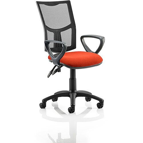 Eclipse II Lever Task Operator Office Chair With Loop Arms Mesh Back Pimento Rustic Orange Seat