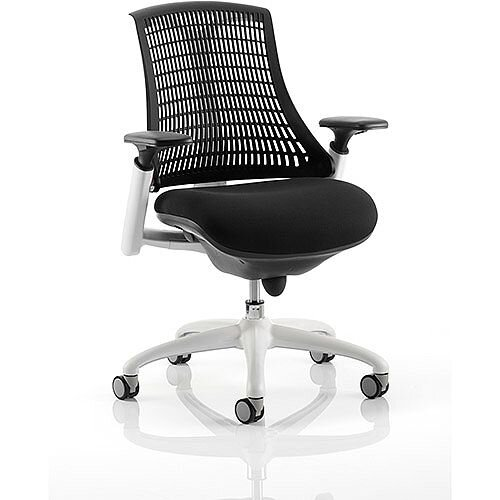 Flex Task Operator Office Chair White Frame Black Fabric Seat With Black Back With Arms