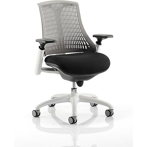 Flex Task Operator Office Chair White Frame Black Fabric Seat With Grey Back With Arms
