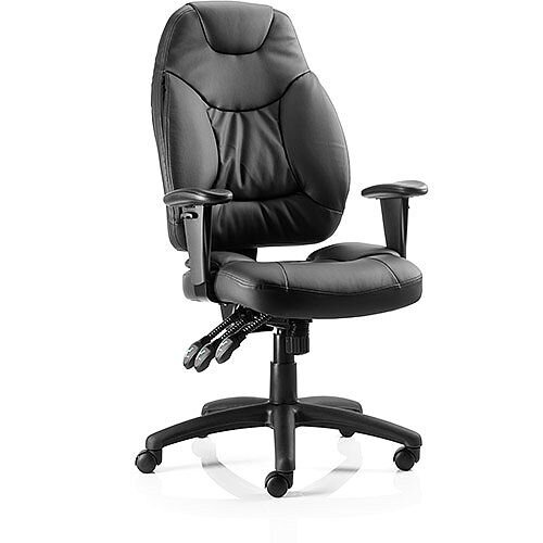 Galaxy Task Operator Office Chair Black Leather With Arms