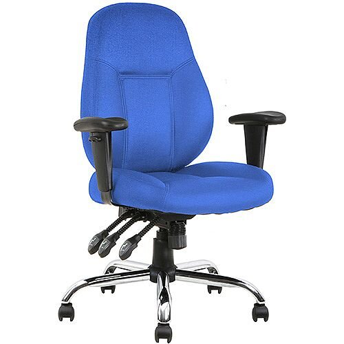 Storm Task Operator Office Chair Blue Fabric With Arms