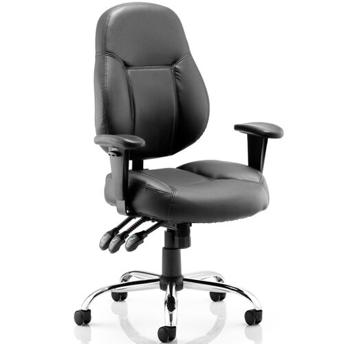 Storm Task Operator Office Chair Black Bonded Leather With Arms