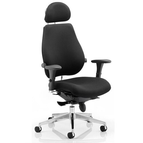 Chiro Plus Ultimate Posture Office Chair Black With Arms &Headrest
