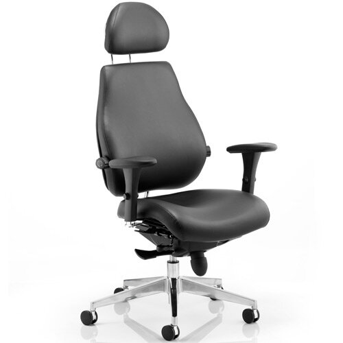 Chiro Plus Ultimate Posture Office Chair Black Leather With Arms &Headrest