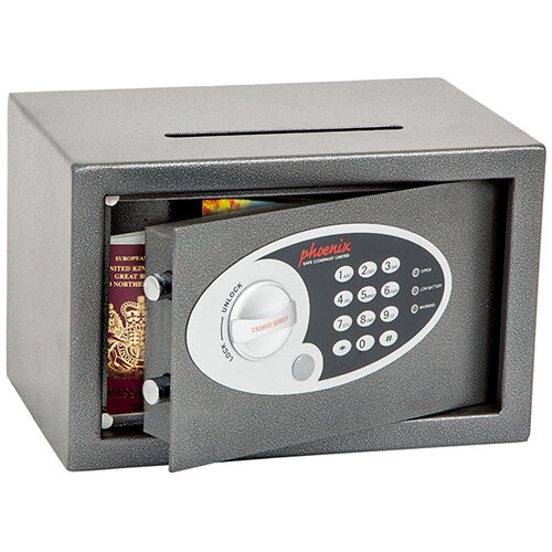 Phoenix Vela Deposit Home &Office SS0801ED Size 1 Security Safe with Electronic Lock Metalic Graphite 10L