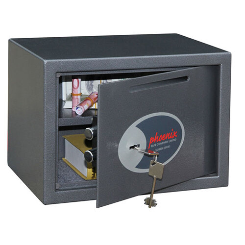 Phoenix Vela Deposit Home &Office SS0802KD Size 2 Security Safe with Key Lock Metalic Graphite 17L