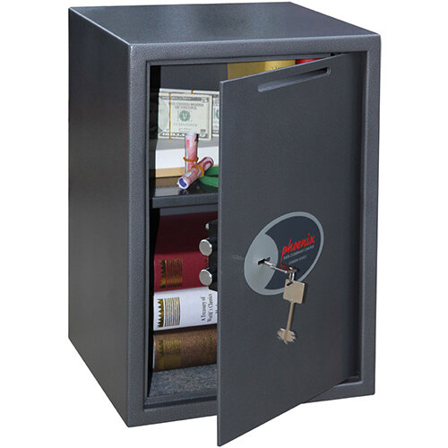 Phoenix Vela Deposit Home &Office SS0804KD Size 4 Security Safe with Key Lock Metalic Graphite 21L