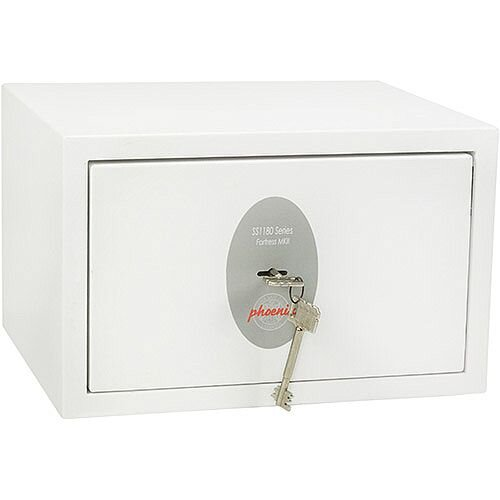 Phoenix Fortress SS1181K Size 1 S2 Security Safe with Key Lock White 7L
