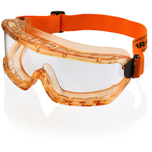 Safety Goggle Anti Mist Orange Frame Clear Pack of 25 Ref E02002-25