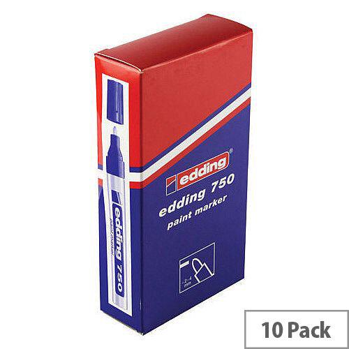 Edding 750 Red Bullet Tip Paint Marker Pen Pack of 10