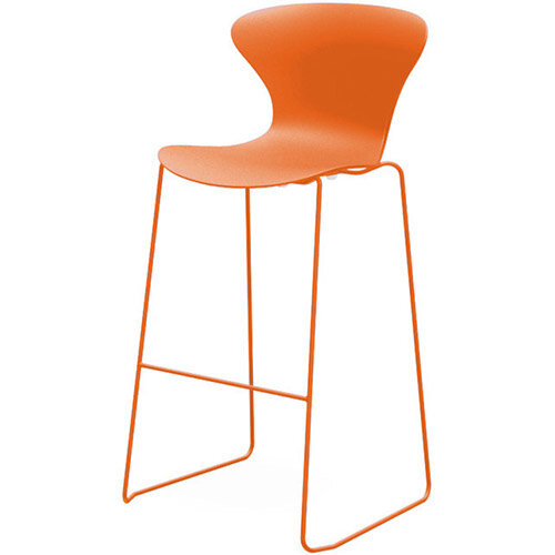 Frovi EGO Canteen Stool With Painted Sled Base H1120xW530xD550mm 790mm Seat Height Orange