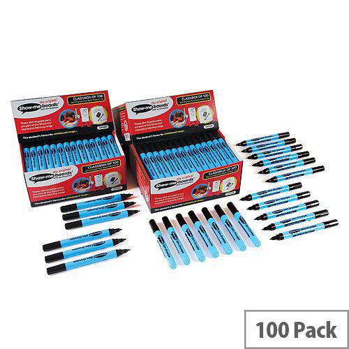 Show-Me Fine Point Slim Barrel Drywipe Marker Black Pack of 104 Fpcp100