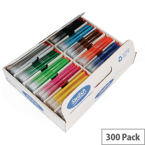 Swash Komfigrip Colouring Pens Broad Tip Assorted Pack 300