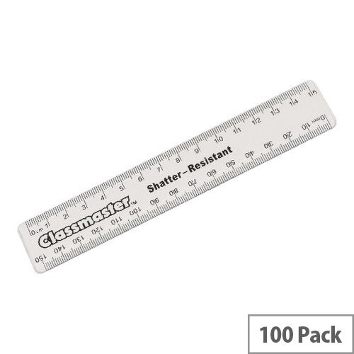Classmaster Clear Ruler 15cm Pack of 100 R15C