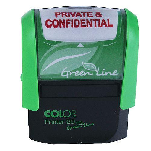Colop Green Line Word Stamp PRIVATE &CONFIDENTIAL P20GLPRI