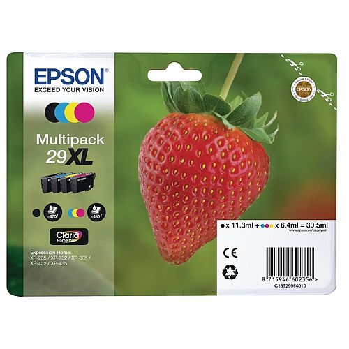 Epson 29XL 4 Colour High Capacity Ink Cartridges Strawberry Series Value Pack C13T29964010 / T2996 C13T29964012