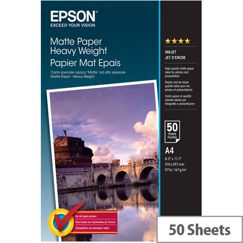 Epson A4 Matte Heavyweight Photo Paper 167gsm (Pack of 50)
