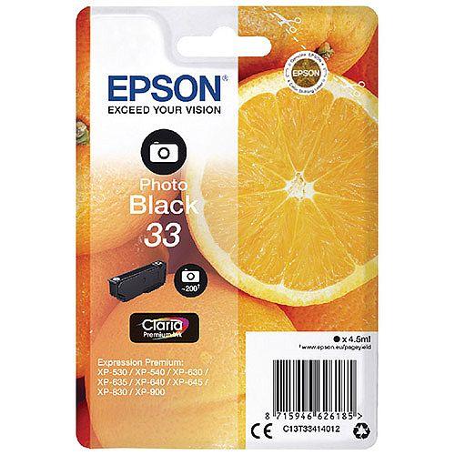 Epson 33 (T3341) Photo Black Inkjet Cartridge C13T33414010 / T3341 C13T33414012