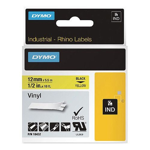 Dymo Rhino Coloured Vinyl Labels Yellow 12mm x 5.5m 18432