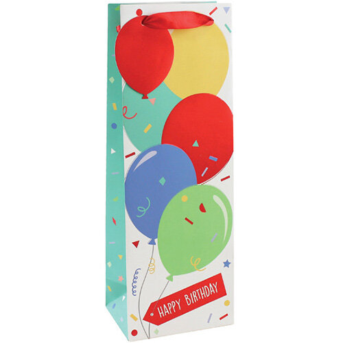 Happy Birthday Balloon Bottle Bag Pack of 6 26952-4