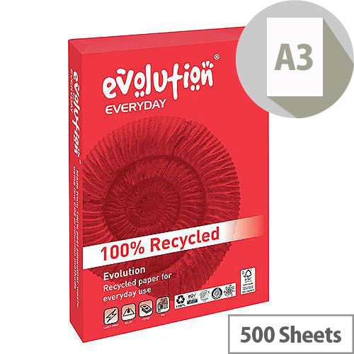 Evolution Everyday A3 80gsm White Recycled Paper Ream of 500 Sheets EVE4280
