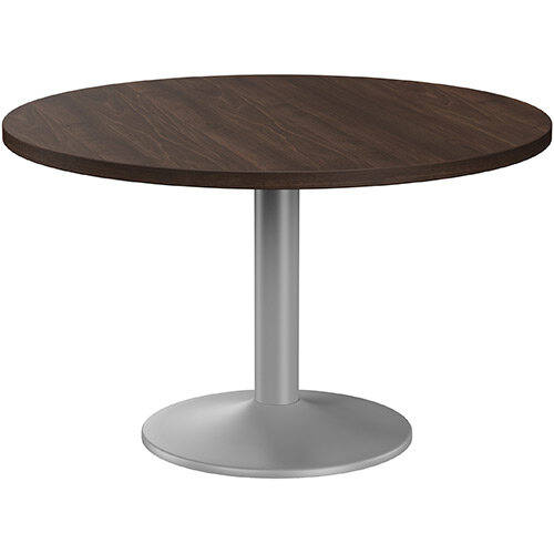 Fermo Round 1200mm Diameter Meeting Room Table With Dark Walnut Top Silver Trumpet Base