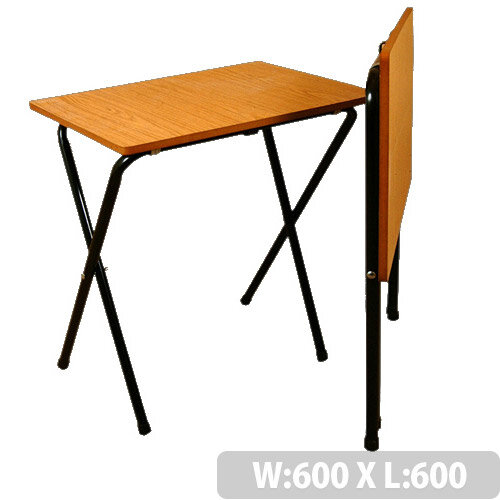 Folding Exam Table Square With Black Frame &Beech Table Top - This Table Is Collapsible Making It Ideal For Both Temporary &Long-Term Use. Safety Brackets Included To Prevent Collapsing While Opening.