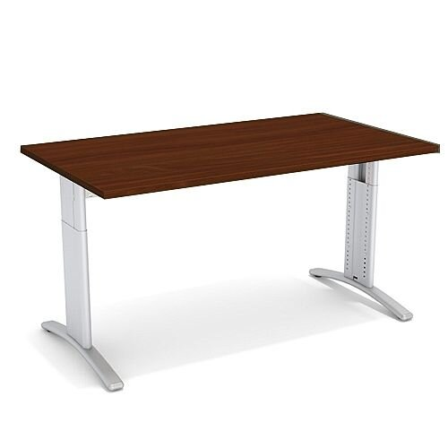 Flex R Height-Adjustable Rectangular Desk 1400x800x640-840mm Walnut