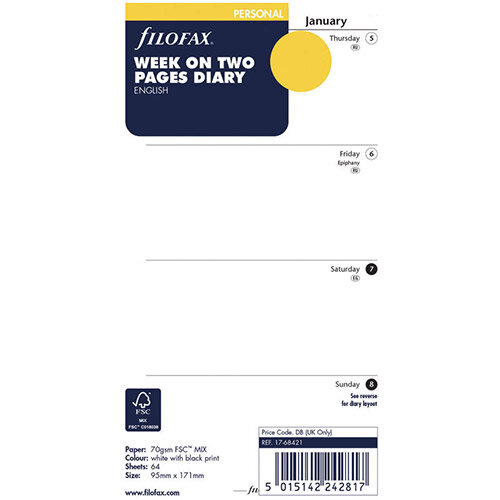 Filofax Personal 2021 Diary Refill Week to View 21-68421