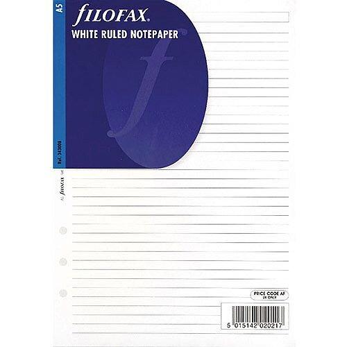 Filofax White A5 Ruled Paper 25 Pack 343008