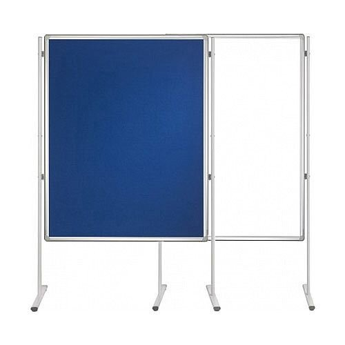 Double Sided Felt Notice Board Blue &Whiteboard 1500 x 1200mm For Franken Pro Partition System  - Feet are not Included, Available to Buy Separately