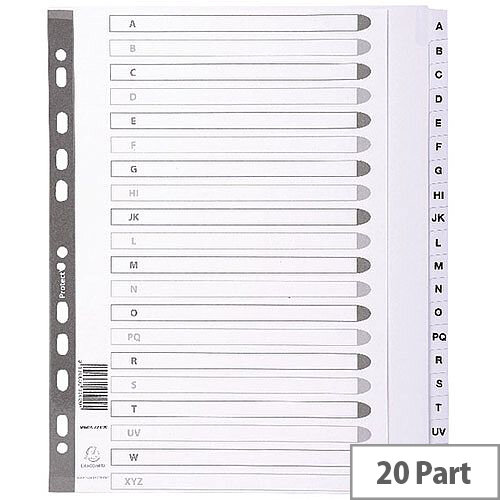 Subject Dividers Mylar A4 Maxi White A-Z MWDA-ZZ-EW