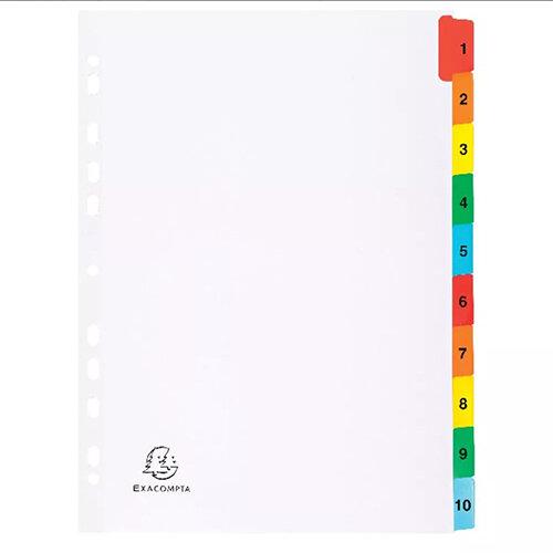 Exacompta A4 White Index Coloured Tabs 1-10 1110E