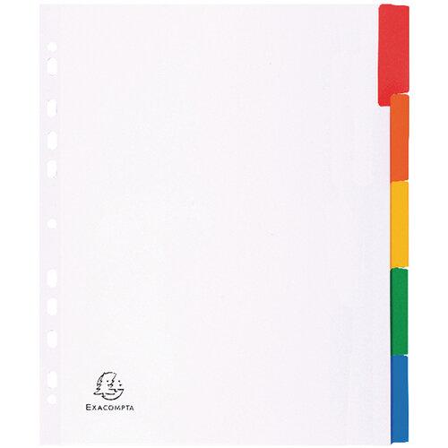 Exacompta A4 Maxi White Divider Coloured Plastic Tabs 5 Part 4305E