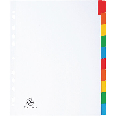 Exacompta A4 Maxi White Divider Coloured Plastic Tabs 10 Part 4310E