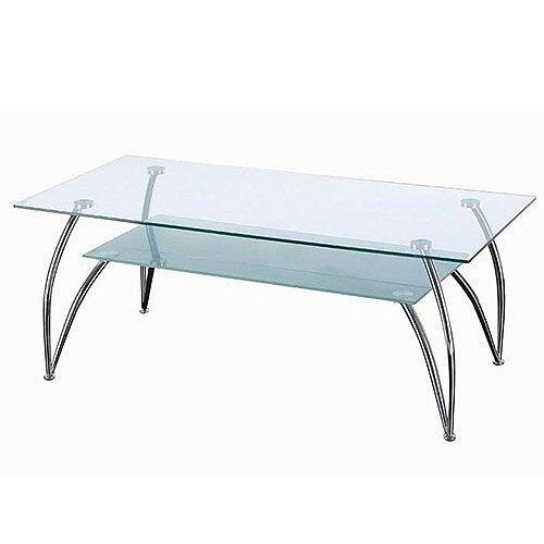 Rectangular 2 Tier Gl Chrome Coffee Table