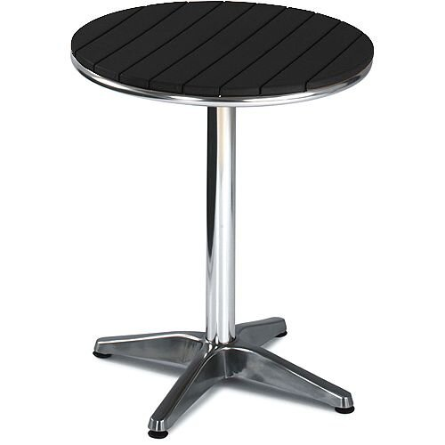 Round Outdoor Patio Table Slatted Black Plastic Top &Aluminium Base