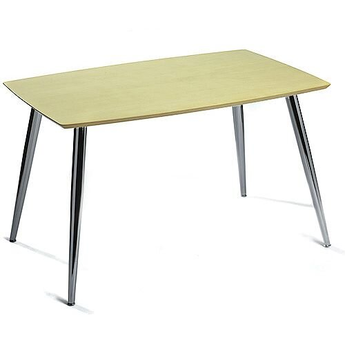 Milano Rectangular Canteen Table Maple Top and Chrome Legs