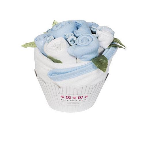 Flower Stork Cupcake Bouquet - Cornflower Blue Baby Boy Gift