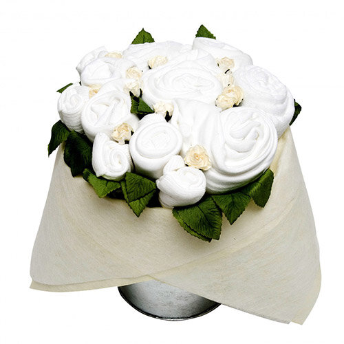 Baby Clothes White Flower Pail Gift